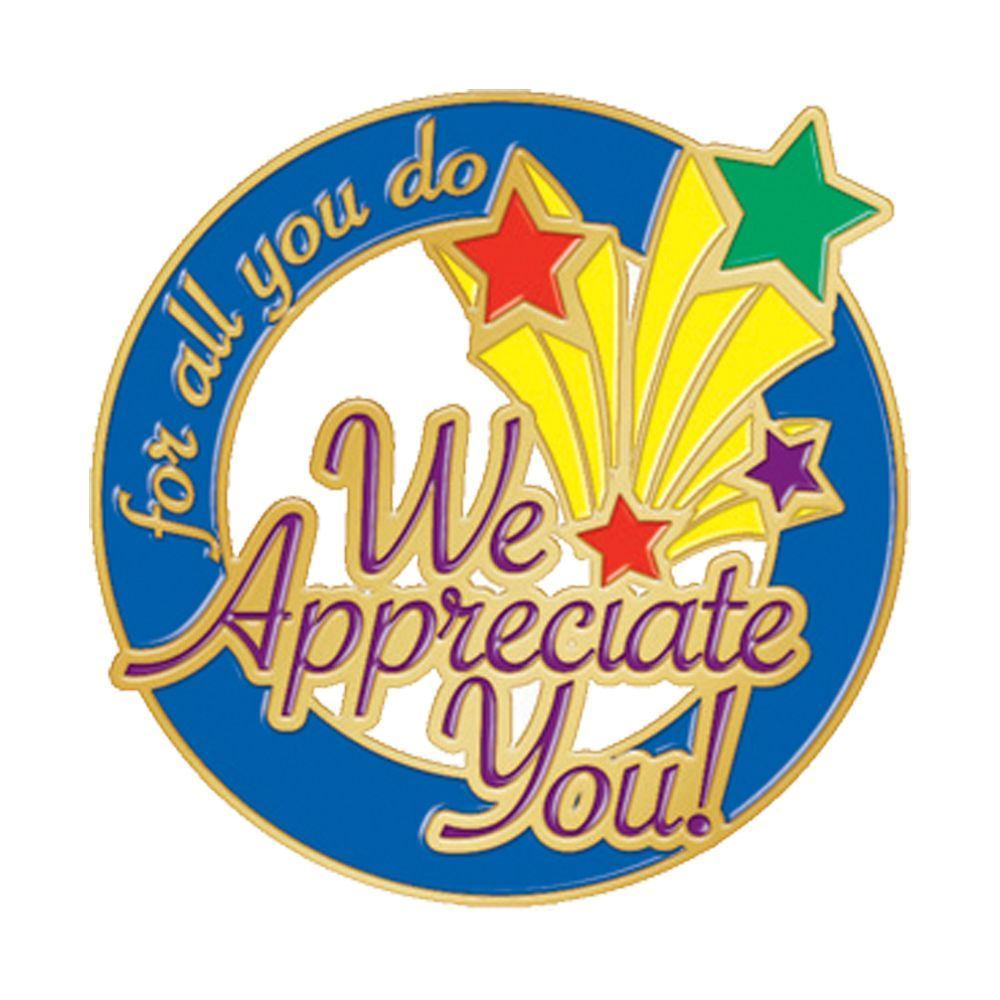 for all you do we appreciate you lapel pin with card positive